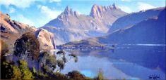 Cradle Mountain - Tasmania 90 x 60 - Copyright John Wilson John Wilson, Wilson Art, Landscape Art, Landscape Paintings, Landscape Photography, Australian Painting, Australian Artists, Painting Gallery, Artist Gallery