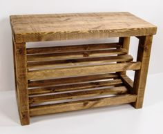 Rustic wooden shoe rack with seat and shelves