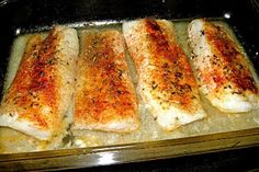 Baked Cod.....Preheat oven to 350 degrees. Season the cod filets with desired spices! I used garlic powder, onion powder, black pepper, oregano, paprika and a pinch of sea salt. Bake for about 20 minutes (or until fish is heated through and flakes easily with a fork).