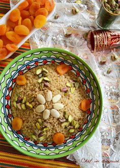 Moroccan couscous dessert with orange blossom water and mixed nuts. Via Chef in Disguise.