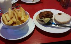 Gluten free pulled pork burger and choips at Ed's Easy Diner, Meadowhall, Sheffield