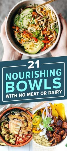 21 hearty nourishing bowls with no meat or dairy. 21 hearty nourishing bowls with no meat or dairy healthy vegetarian dinner recipes Veggie Recipes, Whole Food Recipes, Cooking Recipes, Healthy Recipes, Dinner Recipes, Chicken Recipes, Vegan Recipes No Carbs, Paleo Vegan Recipes Dinner, Low Carb Vegitarian Recipes
