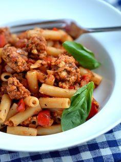 Italian Tempeh & Sweet Pepper Pasta  - 7 Easy Vegan Dinners to Make This Week - ChooseVeg.com