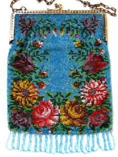 Vintage German Beaded Purse Antique Handbag Germany
