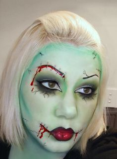 Green horror makeup