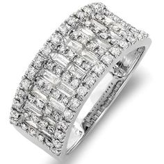 100 Carat ctw 14k White Gold Round  Baguette Diamond Ladies Anniversary Wedding Band Ring 1 CT Size 8 -- See this great product.(This is an Amazon affiliate link)