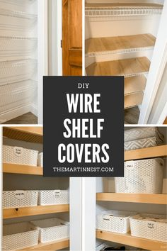 A budget friendly DIY solution for how to cover wire shelving. Renter friendly option and easy to DIY if you don't want to replace the existing shelving. Architecture Renovation, Home Renovation, Home Remodeling, Cheap Renovations, Kitchen Remodeling, Do It Yourself Design, Do It Yourself Home, Diy Regal, Do It Yourself Furniture