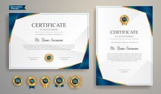 Blue And Gold Certificate With Badge And Border Vector Template. Certificate Border, Certificate Design Template, Certificate Frames, Certificate Of Appreciation, Certificate Of Achievement, Blurry Lights, Gold Business Card, Background Design Vector, Graphic Design Tutorials