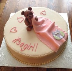 "Gumpaste Teddy Bear and Fondant Blanket on 12"" cake for a baby shower."