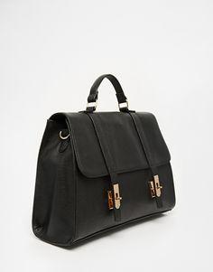 ASOS Smart Satchel Bag With Metal Flap Detail, about $56.05 CAD