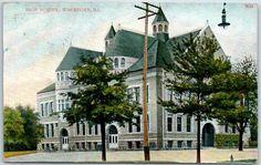 "Waukegan Illinois Postcard ""High School"" Street View w 1908 Cancel | eBay"