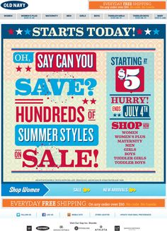 Love the big bold text. Simple.  (Email Design Showcase: Old Navy)