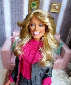 Farrah Fawcett repaint by Lolaxs' ooak dolls, via Flickr