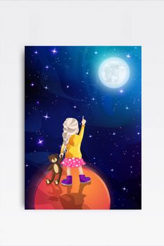 This amazingly cute Illustration of a Boy holding a Teddy in Space fits kids room or any other room :) Looks best when framed. All Illustrations were made by us, LadiesMinimal from scratch, without using any premade elements. Reaching For The Stars, Star Girl, Stars At Night, Exercise For Kids, Cute Illustration, Full Moon, Art For Kids, Planets, Kids Room
