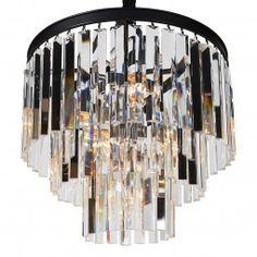 3 Tier Glass Strips Chandelier Chandeliers, Round Frame, Bedroom Accessories, Boston, Bulb, Clock, Pendants, Ceiling Lights, Crystals