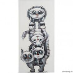 J-Line Schilderij 4 katten maken een toren canvas grijs-wit 120h