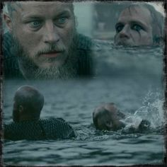 """Photo from _officiallyfimmelized_ When Ragnar sees Floki in the water...here I am, all alone, telling Ragnar...""""c'mon, it's Floki"""""""