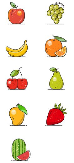 Free Vector Fruit Icons Icons Graphic Design Vector Free Resource Food Fruit Icon AI EPS PDF