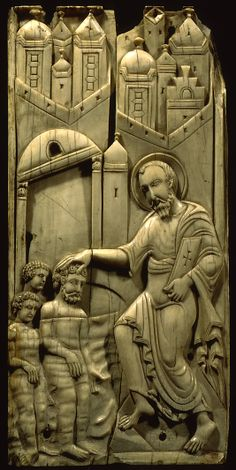 Ivory panel for the so-called Grado Chair - St. Mark Baptizing Anianos