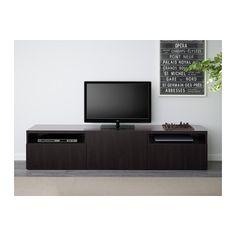 BESTÅ TV unit, Lappviken black-brown Lappviken black-brown drawer runner, soft-closing 180x40x38 cm