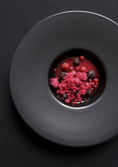 Plum, beetroot, and licorice. By chef Søren Selin of Restaurant AOC, in… Chefs, Molecular Gastronomy, Beetroot, Plated Desserts, Gourmet Desserts, Gourmet Foods, Culinary Arts, Food Design, Design Art