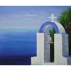 Hand Painted Oil Painting On Canvas Impression Mediterranean Pray Mark Wall Deco