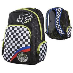Fox Racing Revived Back Pack Black White Checkers Foxhead Bag BackPack