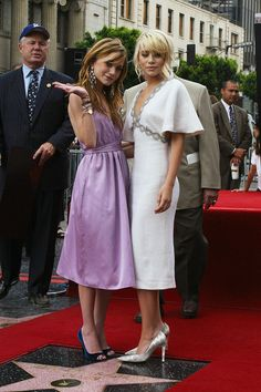 A round up of Mary-Kate and Ashley Olsen's best fashions throughout the years | receiving a star on the Hollywood Walk of Fame in 2004