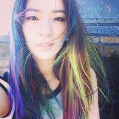 Rainbow hair à la Irene Kim Color Your Hair, Cool Hair Color, Irene Kim, Hair Icon, Unicorn Hair, Rainbow Hair, Elle Magazine, Instagram Models, Looks Cool