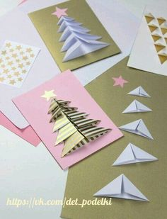Fast and beautiful: From Paper Christmas Decorations Homemade Christmas Cards, Christmas Cards To Make, Christmas Crafts For Kids, Christmas Greeting Cards, Christmas Art, Homemade Cards, Handmade Christmas, Holiday Crafts, Christmas Decorations