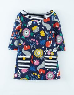 Jersey Printed Tunic by Mini Boden: Love the contrasting stripy pockets and neckline. #Sewing inspiration #SewforGirls #Dresses