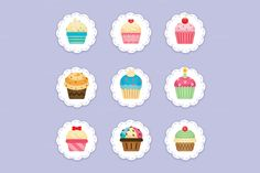 Cupcake Clipart, cupcakes icons by Manudesign on @creativemarket