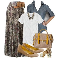 A fashion look from September 2011 featuring white shirt, maxi skirt y flat shoes. Browse and shop related looks.