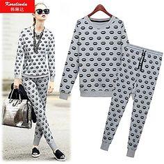 Korelinda ® Women's Clothing Lips printing sweater suit 8248 – USD $ 37.50