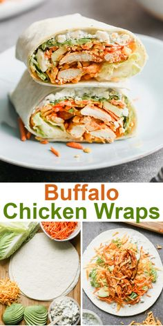 These EASY and delicious Buffalo Chicken Wraps include juicy buffalo chicken layered on crunchy fresh veggies, topped with cheese and creamy dressing and wrapped tightly in a delicious flour tortilla. Good Healthy Recipes, Healthy Meal Prep, Healthy Chicken Recipes, Cooking Recipes, Healthy Lunch Wraps, Healthy Snacks, Health Recipes, Healthy Chicken Wraps, Recipes With Chicken Tenders