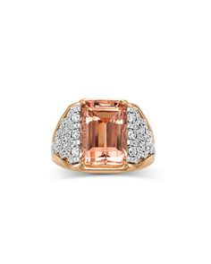 18K+Emerald-Cut+Morganite+&+Diamond+Ring,+Size+7+by+Frederic+Sage+at+Neiman+Marcus.
