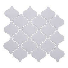"Arabesque 3"" x 3"" Porcelain Mosaic Tile in White"