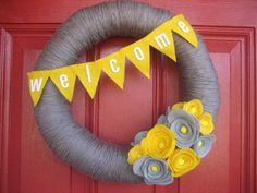 Yarn/Felt Welcome Wreath. $40.00, via Etsy.