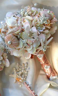 Pink Sea Shell wedding bouquet, Blush Bridal Bouquet, Bridal Brooch…