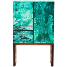 Magnificent Turquoise Goatskin Aldo Tura Bar Cabinet | From a unique collection of antique and modern dry bars at https://www.1stdibs.com/furniture/storage-case-pieces/dry-bars/