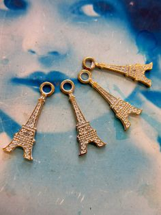 Eiffel Tower White Frosted Patina Copper Ox Charms 379WHTCOP x4 by…