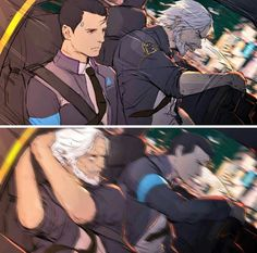 Detroit Become Human Connor and Hank Bryan Dechart, Quantic Dream, Detroit Become Human Connor, Becoming Human, Anime Lindo, Nerd, I Like Dogs, Levi X Eren, Human Art