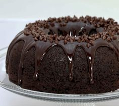 Chocolate Lover's Bundt Cake. Moist, double chocolate cake with chocolate chips, topped with chocolate ganache and MORE chocolate chips.