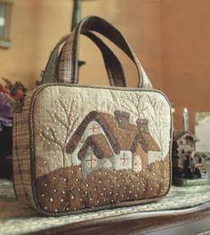 PDF Pattern Tutorial Winter cabin home bag handbag purse sewing handmade