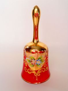 Vintage Bohemia Red Crystal Bell With Gold