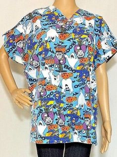 12723e2f2be Halloween Scrub Top Unisex Sz Medium Blue Ghost Boo Frankenstein Pumpkin  Witch  JLJ