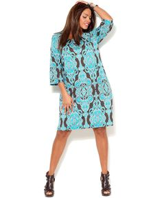INC International Concepts Plus Size Dress, Three Quarter Sleeve Printed  $80.99