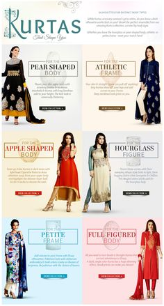 Shop for Salwar Kameez and Kurtas as per your figure. Choose from Straight fits for Full bodied, Pakistani style for Petite body, Empire cuts, Abaya style for Hourglass figure and also for Apple shape, Pear shape and more. Pear Shaped Celebrities, Pear Shaped Women, Pear Shaped Dresses, Pear Shaped Outfits, Clothes For Pear Shaped, Kurta Style, Abaya Style, Apple Shape Fashion, Dresses For Apple Shape