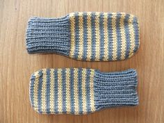 Hand knitted mustard and slate grey stripey baby mittens - Available to order in sizes newborn up to 6-12 months