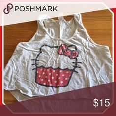 Hello kitty cupcake shirt Selling Junior size tank top crop top in good condition . Hello Kitty Tops Crop Tops